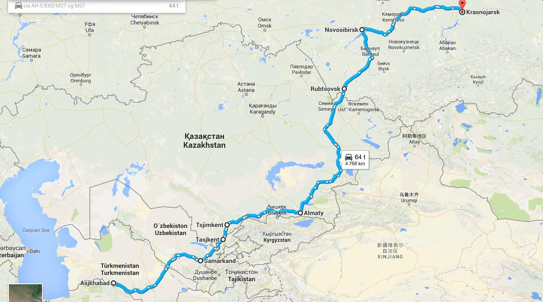 Ashgabad-Krasnojarsk